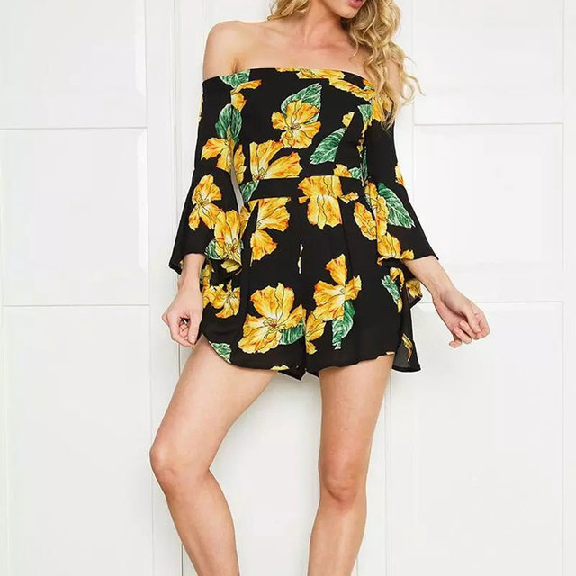 Cq828 luva dos três quartos floral impresso flare mulheres jumpsuit 2017 nova venda elegante moda regulares macacões elegantes para mulheres