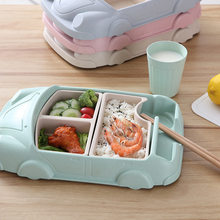 Kids Bowl Set Bamboo Fiber Food Containers Kids Tableware Infant Training Dishes Car Shaped Bowl Cup Plates Dinnerware Set 25(China)