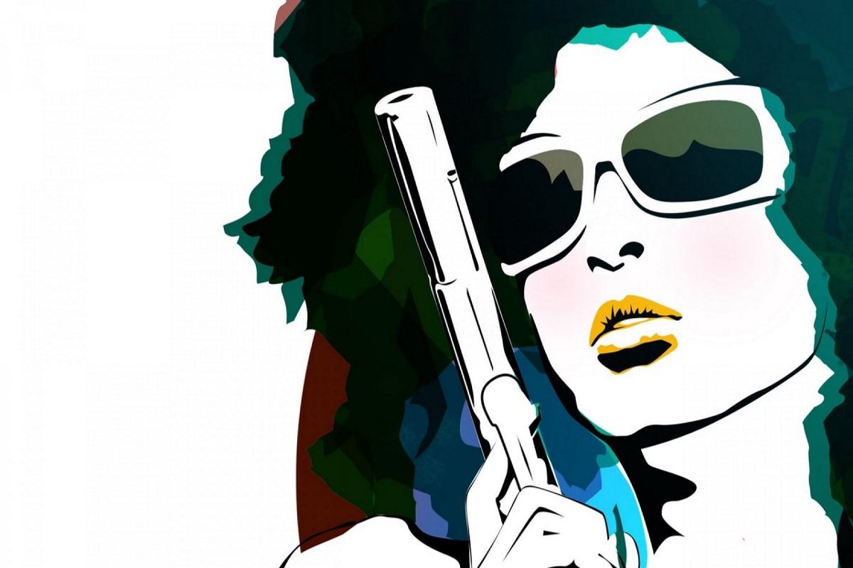 Living room home wall modern art decor canvas fabric poster artist artwork cool girls women with sunglasses gun portrait RW012