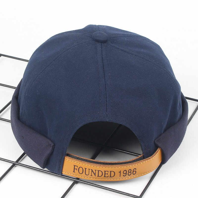 2019 غسلها القطن الرجعية الجمجمة قبعة قابل للتعديل Brimless قبعة المالك تنفس قبعة صغيرة قبعة بحار خمر الهيب هوب الرجال قبعة