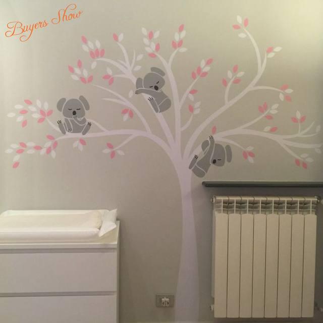 Surdimensionné Grand Koalas Arbre Vinyle Wall Sticker Pour Chambre D ...