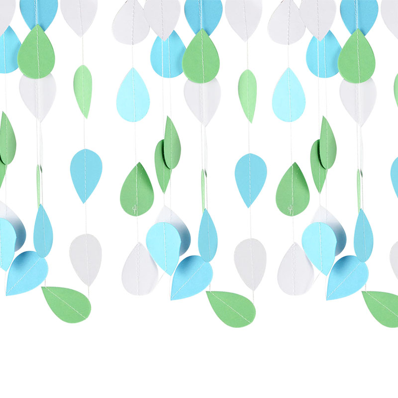 2m Raindrop Paper Garland Party Decoration Wedding Party Bunting Banner Strings Photo Prop Baby Shower Hanging Decoration