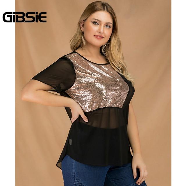 GIBSIE Plus Size Women Summer Color Block Sequin Top Chiffon See Through Black T Shirt Female O-neck Short Sleeve Casual Tshirt 3
