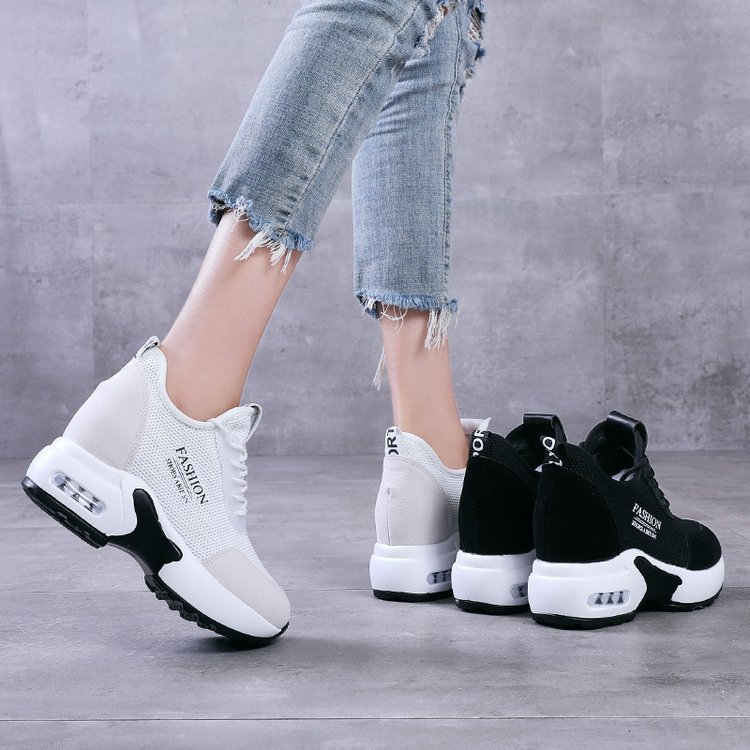 Womens White Vulcanized Shoes Ladies Chunky Trainers Disruptor Hidden Heels Wedge Sneakers Breathable Platform Black Shoes