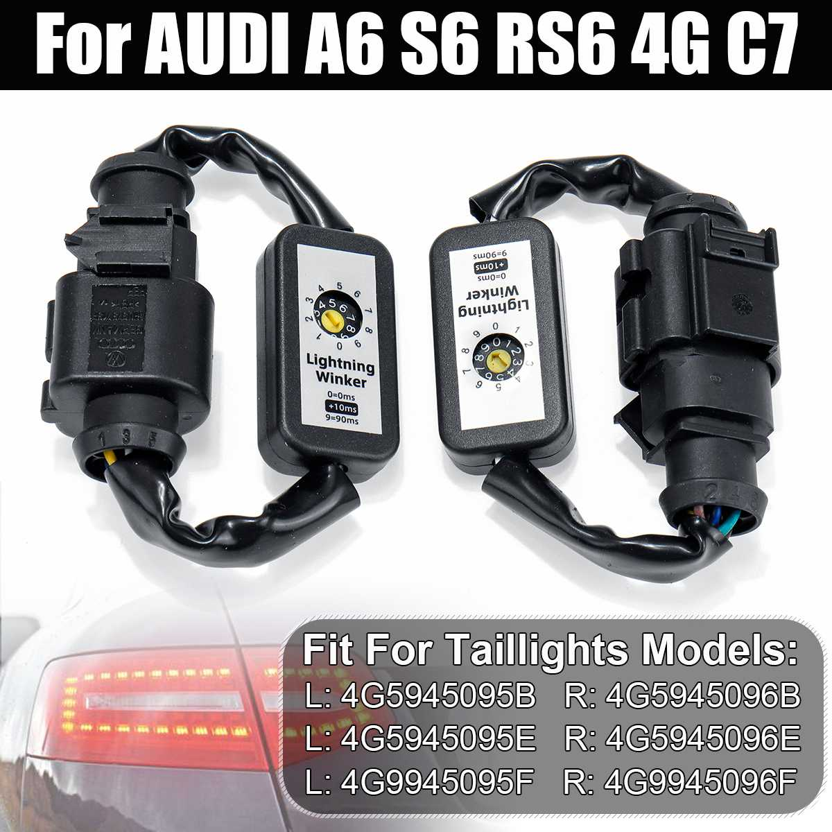 2pcs Dynamic Turn Signal Indicator LED Taillight Add on Module Cable Wire Harness For AUDI A6 S6 RS6 4G C7 Left&Right Tail Light
