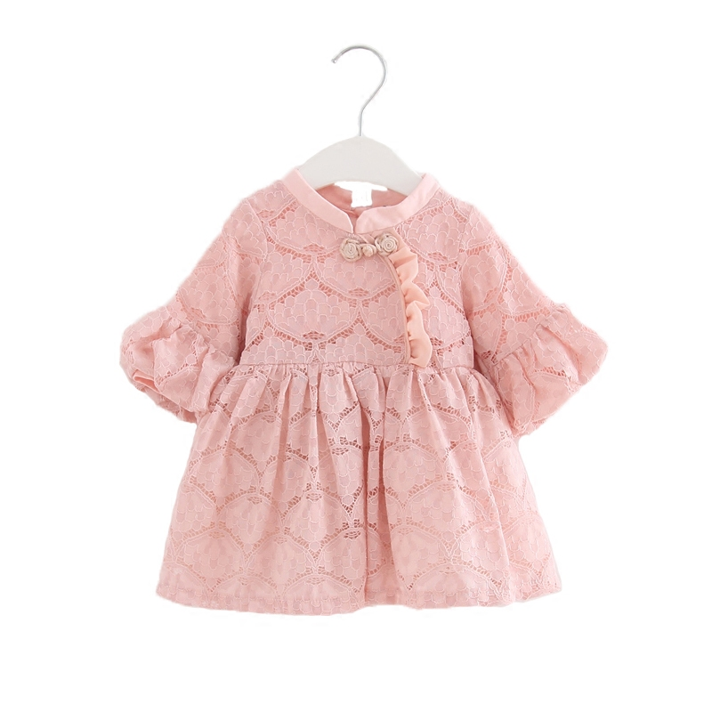 Herbst Chinesischen Stil Spitze Mädchen Kleid Baby Mädchen Kleider Kinder Kleidung Vestidos Infantis Kleinkind Mädchen Kleidung rot rosa 0- 2 t