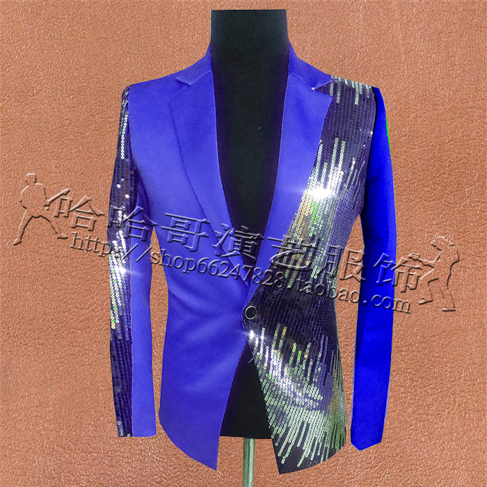 <font><b>Men</b></font> <font><b>Sequins</b></font> <font><b>Jacket</b></font> <font><b>Blazer</b></font> Outfit Wedding Prom Groom Blue Purple Color S-XXXL Paillette Costume Male Singer Dancer Star Clothing image