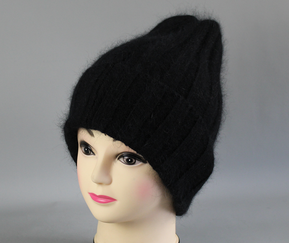Thick Winter Hats For Women angora Beanies Hat knitted wool warm Beanie With Back Opening 2018 New (14)