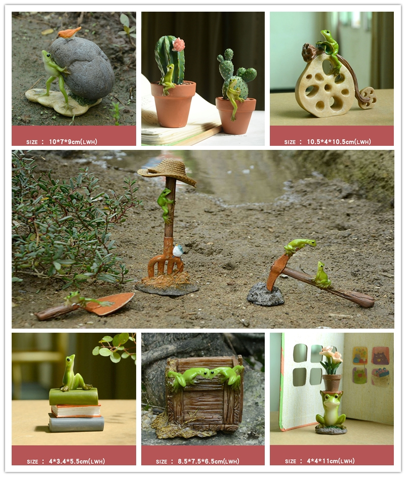 Mini Resin Frog Fairy Garden Plant Pots Bonsai Miniatures