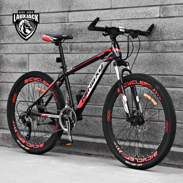 새로운 브랜드 산악 자전거 탄소 강철 프레임 24/26 인치 휠 27 속도 듀얼 디스크 브레이크 자전거 야외 스포츠 mtb bicicleta