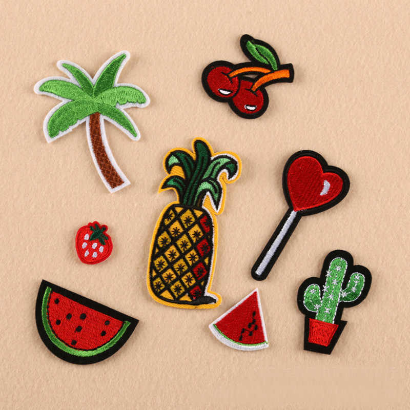 Red Fruit Plant Repair Badge Patch Embroidered Patches For Clothing Iron On For Close Shoes Bags Badges Embroidery DIY