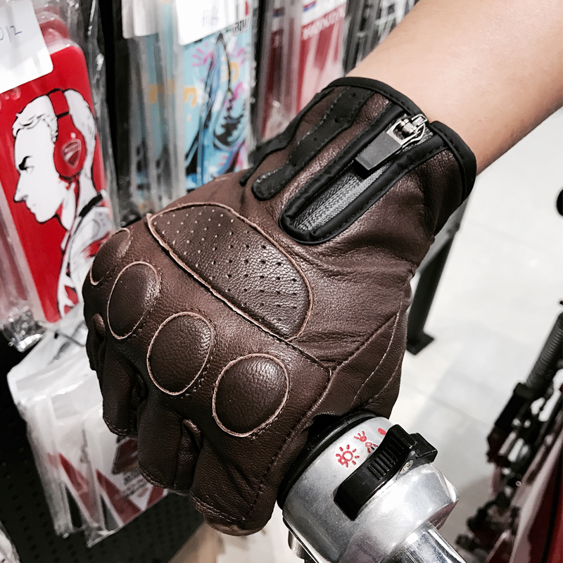 Free shipping biker leather gloves mens leather motorcycle gloves half finger gloves for Retro brown black color M L XL XXL