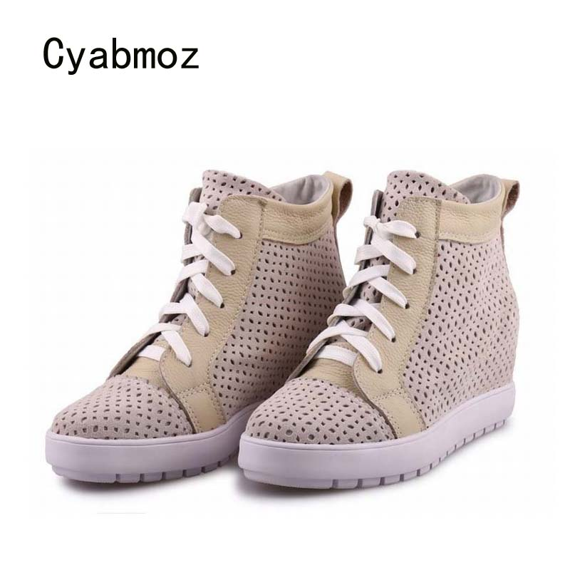 Cyabmoz Platform Wedge Genuine leather Shoes Woman Hollow Height increasing Mixed colors High heels Women Shoes Zapatos mujerCyabmoz Platform Wedge Genuine leather Shoes Woman Hollow Height increasing Mixed colors High heels Women Shoes Zapatos mujer