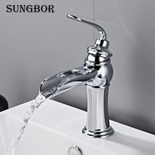 Bathroom Basin Faucet Chrome Brass Vanity Vessel Sinks Washbasin Cold Hot Water Mixer Tap Waterfall Deck Mount Single Handle kemaidi new arrival bathroom faucet round paint golden bowl sinks vessel basins washbasin ceramic basin sink