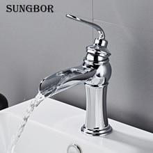цена на Bathroom Basin Faucet Chrome Brass Vanity Vessel Sinks Washbasin Cold Hot Water Mixer Tap Waterfall Deck Mount Single Handle