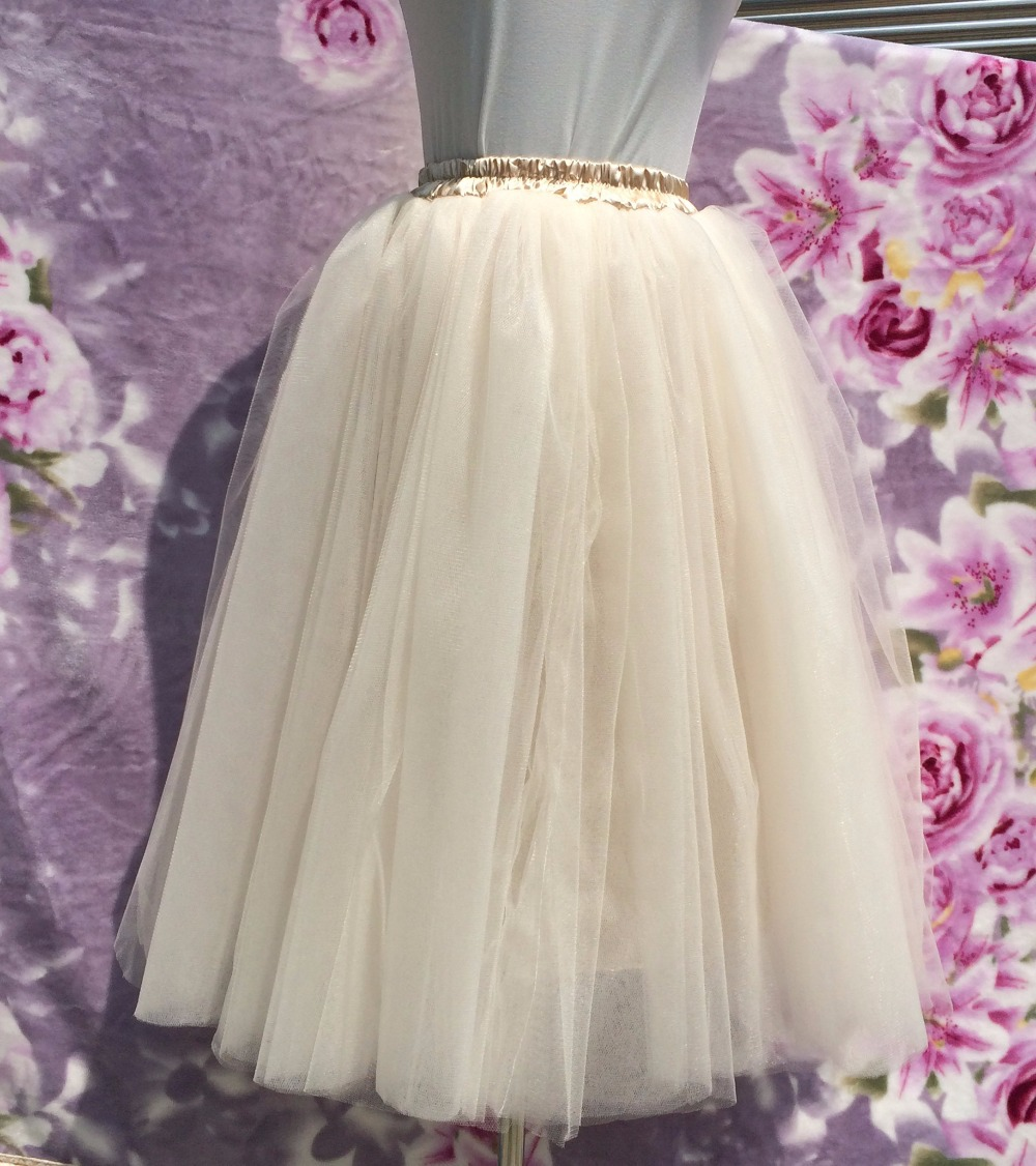 Champagne Puffy Tulle Skirts 7 Layers Prom Tutu Girls Elastic ...