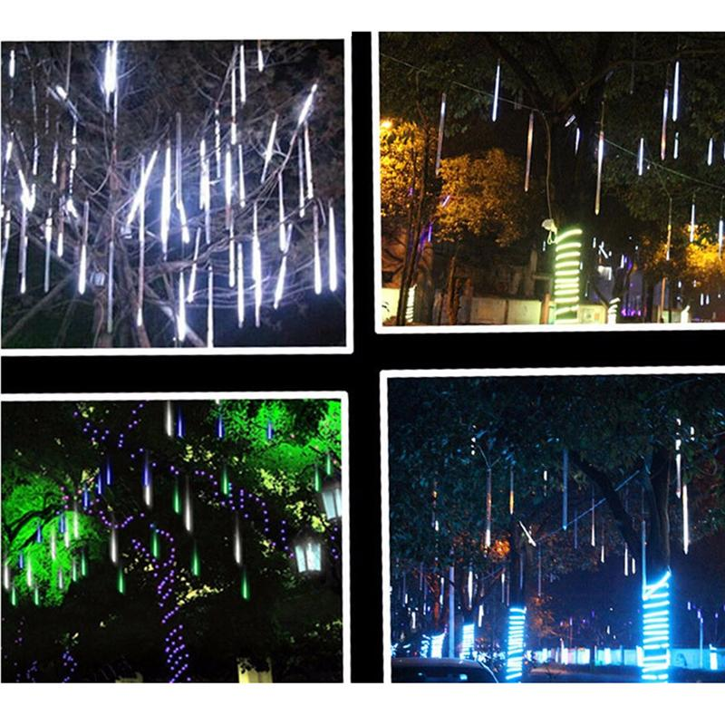 20 Inches 8 Tubes Meteor Tube Shower Rain String LED Christmas Lights Wedding Party Garden String Light Outdoor With EU Plug