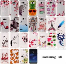 For Samsung Galaxy S8 Case Cute Silicone Transparent Soft TPU with Catoon High-heeled Shoes Bear Picture Shell for S8 plus
