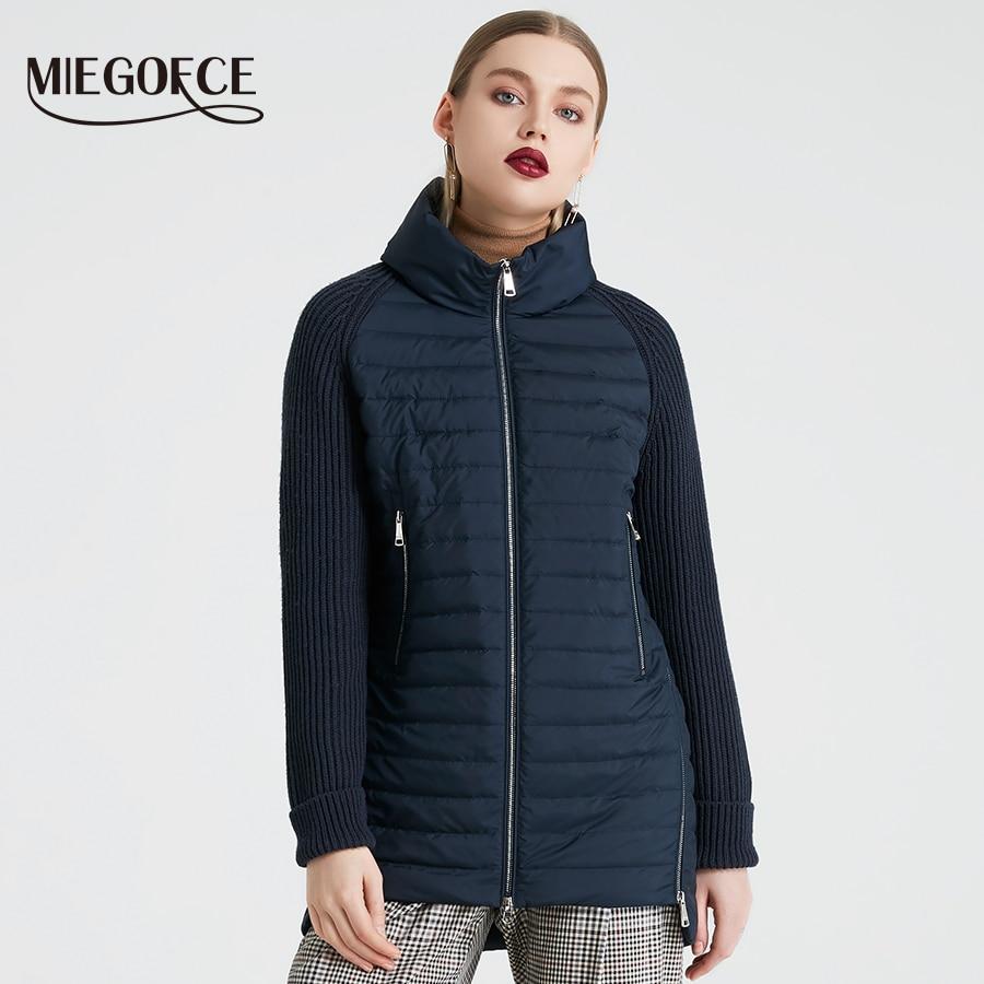 MIEGOFCE 2019 printemps et automne femmes manteau avec col montant manteau court femmes mince coupe-vent tricoté manches veste chaude