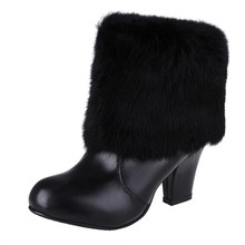 New Fashion Winter Cowhide Platform Mid-Calf Boots Round Toe Square heel Women Size 34-44 Black White Pink Boots