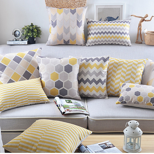 Yellow Decorative Pillows For Sofa : Yellow Pillows For Sofa 11 Sizes Available One Grey Or Yellow Mix And Match By Pillomatic - TheSofa