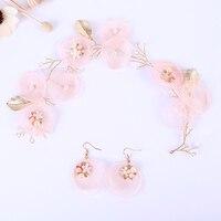Elegant Pink Silk Flower Pearl Headband For Women Trendy Wedding Hair Yarn Accessories Handmade Floral Pearl