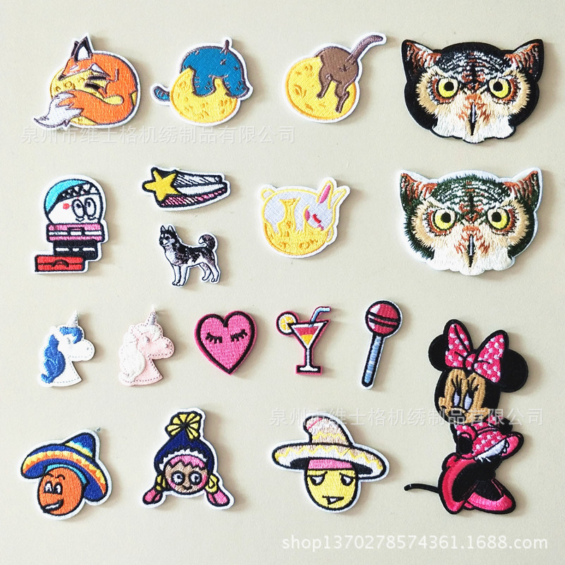 100 PCS/LOT EMBROIDERY PATCHES Sticker Insignia Bird Flower SERVICE DOG MOON Mickey for CUSTOM DRESS Cloth Clothing Decoration