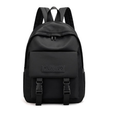 Womens backpack trend solid color simple college student moisture-proof bag
