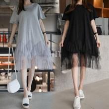 Summer 2019 Korean Plus Size Dress Women Short Sleeve Patchwork Mesh Midi Dress Black Ruffle T Shirt Dress vestidos plus size brief mesh patchwork sleeve dress