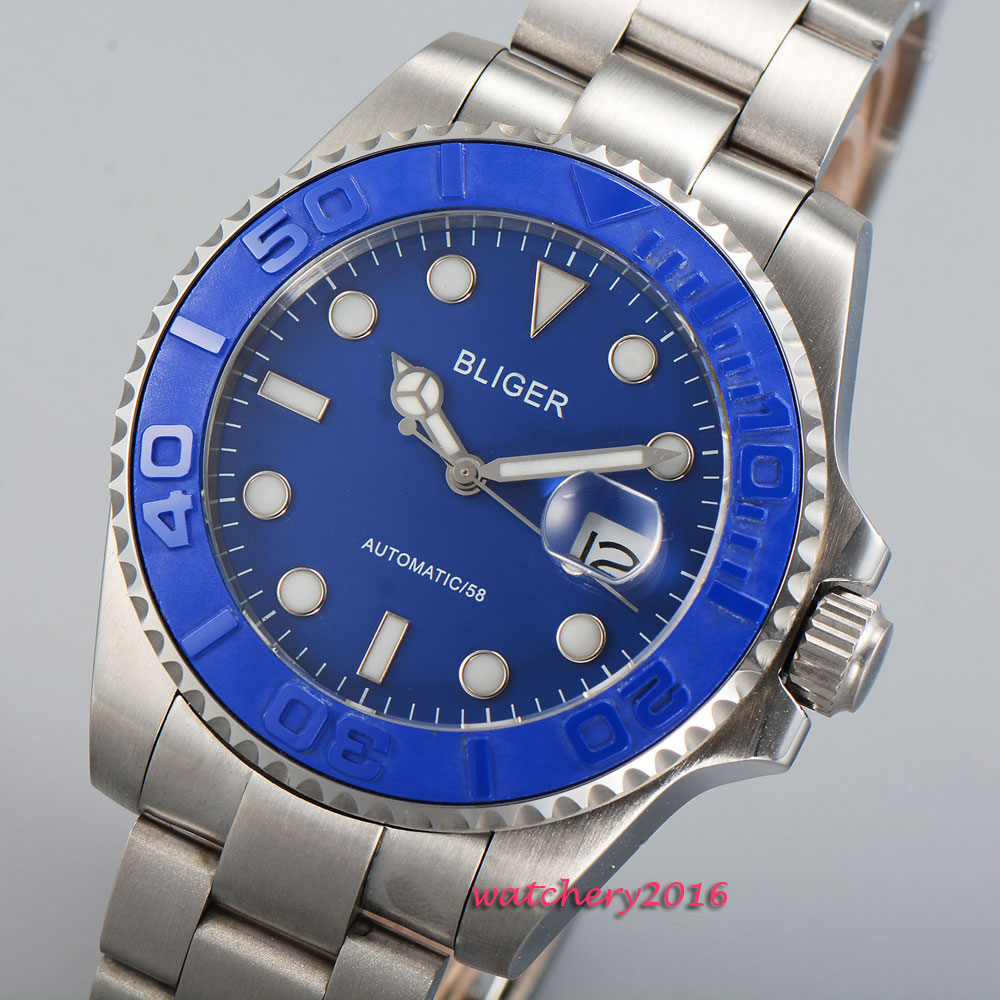 43mm Bliger Blue dial ceramic bezel date 2018 top brand Luxury Sapphire Glass luminous marks Automatic Mechanical Men