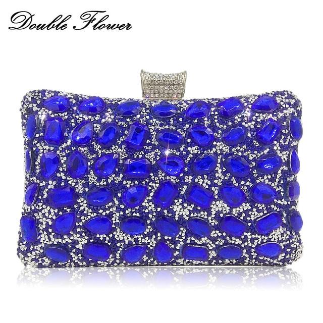 Double Flower Dazzling Royal Blue Crystal Women Evening Clutch Bag Wedding Party Ladies Chain Shoulder Metal Handbags Purses