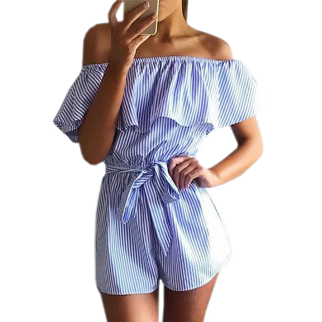 4b665caad271 Ruffles Slash Neck Beach Playsuits Summer Women Striped Jumpsuits Girls  Sexy Casual Playsuit Overalls with Belts Femininos GV571