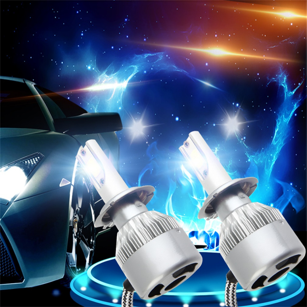 newest 1Pair C6 H7 Car LED Headlamp Bulb Head lights Replace Xenon Headlights 4000LM 12-24V 80W 6000K White LED Light