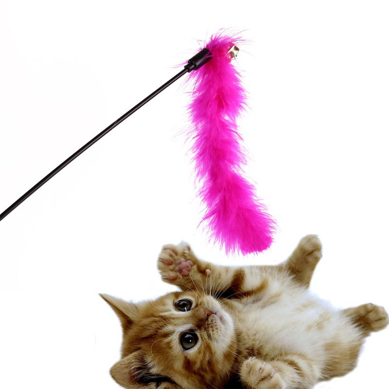 3pcsLot Pet Cat Kitten Feather Toys Teaser Wand Turkey Feather Interactive Rod Toy Color Random
