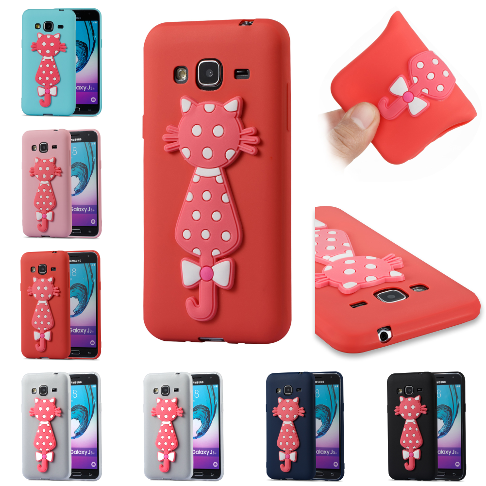 3D Cat TPU Silicone Soft Cubierta Kryty Shell Bag Cover For Samsug Samsung Galaxy Galax J3 2016 J 310