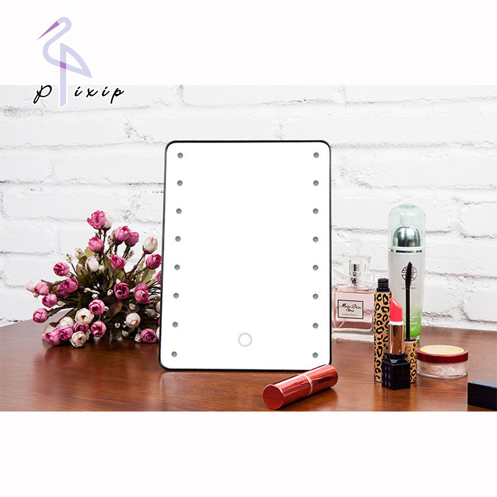 16 LEDs Lighted Adjustable Vanity Tabletop Countertop Mirror Make-up Cosmetic Mirror Makeup Mirror Portable with Touch Screen