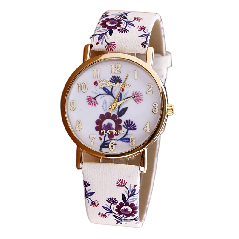 Women\'s Watch 2018 New Flower Patterns Leather Watches Lady Girl ...