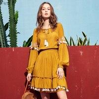 ARTKA 2019 Spring New Women Long Sleeve Dress Vintage Style Fashion Slim Waist Solid Color Tassel A line Dresses LA10991C