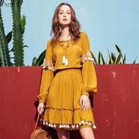 ARTKA 2019 Spring New Women Long Sleeve Dress Vintage Style Fashion Slim Waist Solid Color Tassel A-line Dresses LA10991C