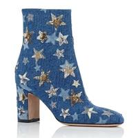 2018 Bling Glitter Stars Chunky Heels Woman Ankle Boots Round Toe Zipper Female Short Boots Girls Denim Vintage Martin Boots