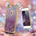 Luxury Glitter Gradient Cases for iPhone 6 6S 3D Mouse Ears Silicone Plating Frame Sequins TPU Cover Shell for iPhone6 6s 4.7""
