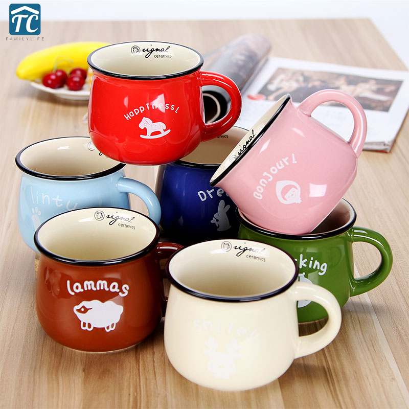 Cups And Mugs Caneca Vintage Small Ceramic Milk Mug 7 Colors For Breakfast Kubki Heat-resistant Travel Coffee Mokken Drinkware