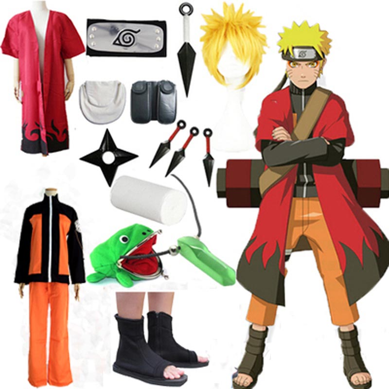 Full Set Naruto Uzumaki Naruto Cosplay Costume Shippuden Uzumaki Naruto 2nd Outfit Uniforms Set With Headband Halloween Costume
