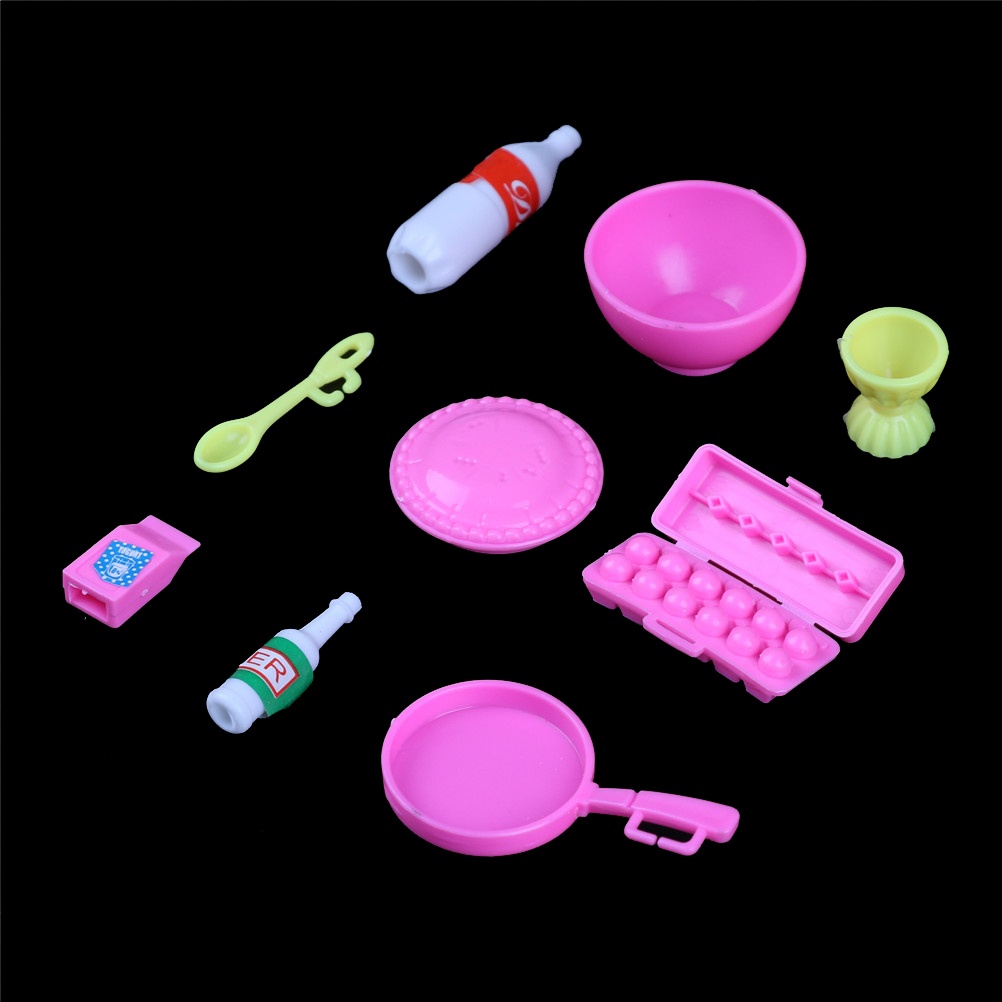 10 Pcs/Set Cup Plate Dish Decor Toys Doll Accessories Kitchen Mini Tableware Miniatures Gifts for Kids Girls High Quality