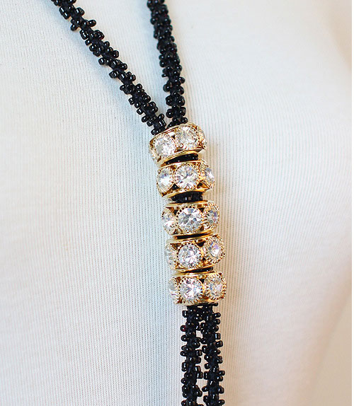 Fashion Women Long Tassel Necklaces Sweater Chain Crystal Rhinestone Beaded Necklaces For Ladies Girl Jewelry collares mujer