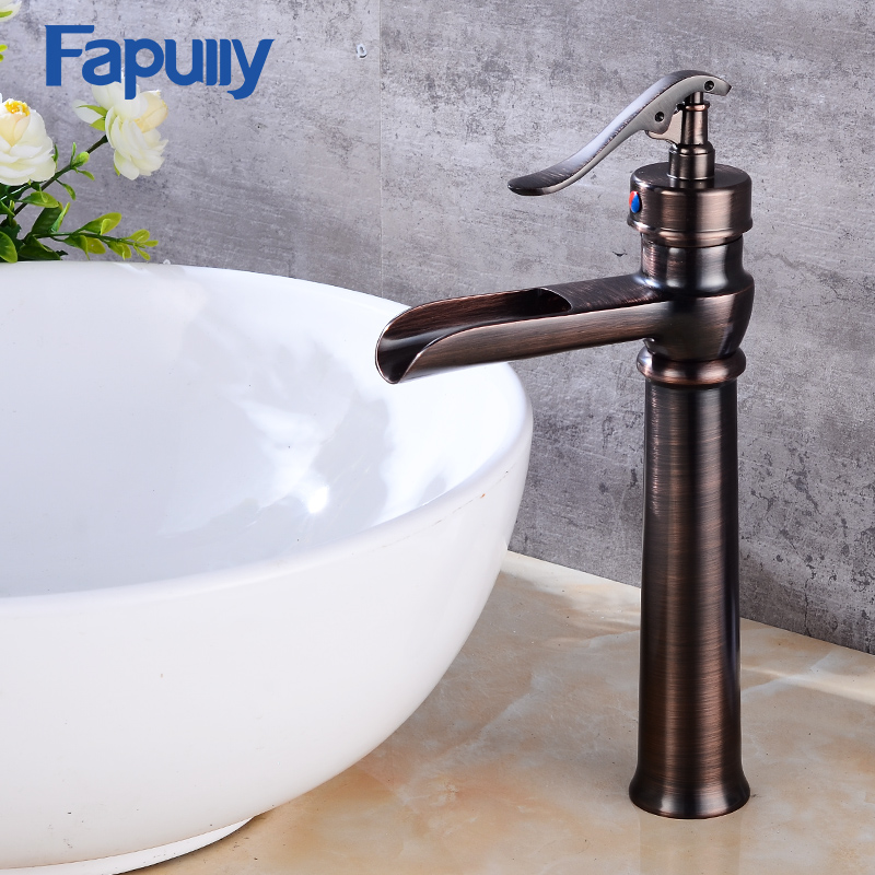 Fapully bathroom faucets Oil rubbed bronze tall basin waterfall faucet single handle deck mounted black sink mixer taps square deck mount countertop bathroom kitchen faucet single handle tall basin sink mixer taps oil rubbed bronze