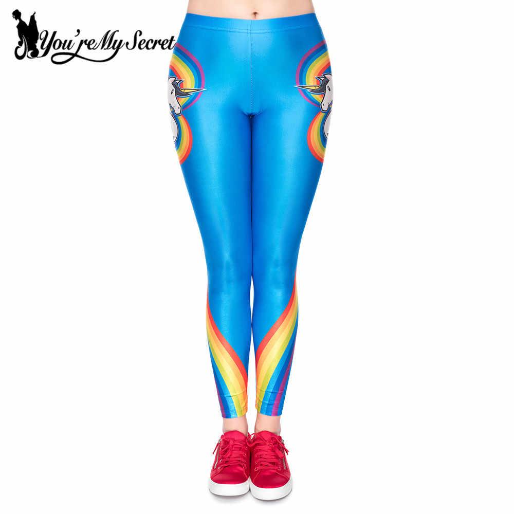 [ของฉัน Secret] สินค้าใหม่มาใหม่สีสัน Unicorn ผู้หญิง Leggings Vivid Rainbow Love รูปร่างพิมพ์กางเกง Street Wear กางเกงขายาว