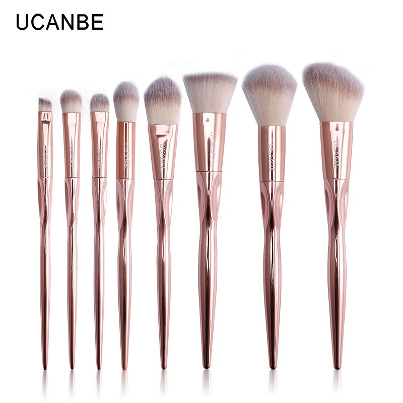 UCANBE Brand 8pcs Luxury Rose Gold Metal Makeup Brushes Set Grasp Cosmetic Professional ...
