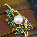 France Enamel Process Chinese Bamboo Pattern 11-12mm Freshwater Pearl Brooches for Women
