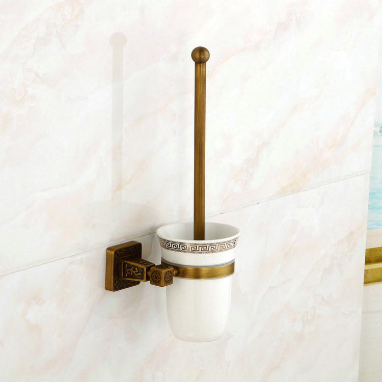 Wall Mounted Toilet Brush Holder Oil Rubbed Brushed Solid Brass Bathroom newly design oil rubbed broze tooth brush holder 2 ceramic cups wall mounted